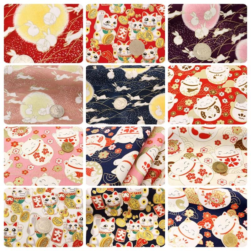 half yard Japanese soft breeze gilt fabric with fortune cat rabbit print, handmade DIY quilting bag tissue CR-A100