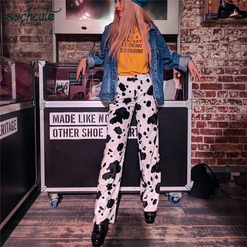 Pantalones SUCHCUTE Cargo para mujer, pantalones de talle alto, pantalones Punk de talla grande, estilo a la moda coreana, estilo gótico, femenino, Harajuku, Boho Festival