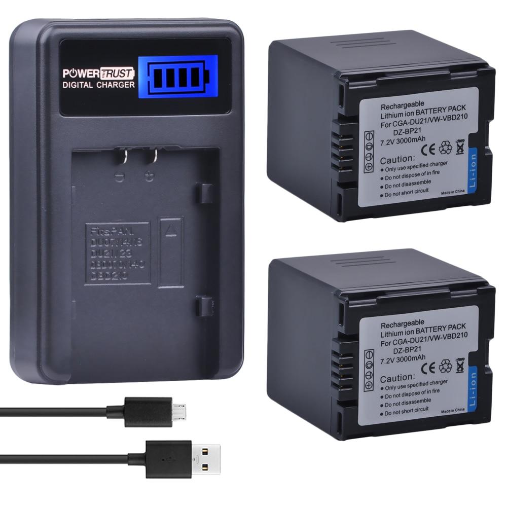 2 uds CGA-DU21 CGA DU21 Cámara batería + cargador usb con lcd para Panasonic NV-GS330 GS400 GS408 GS500 GS508 MX500 PV-GS90 GS120 GS150