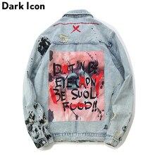 DARK ICON Graffiti Appliques Hip Hop Jeans Jacket Men 2019 Autumn Washing Material Denim Jackets for Men Casual Jackets