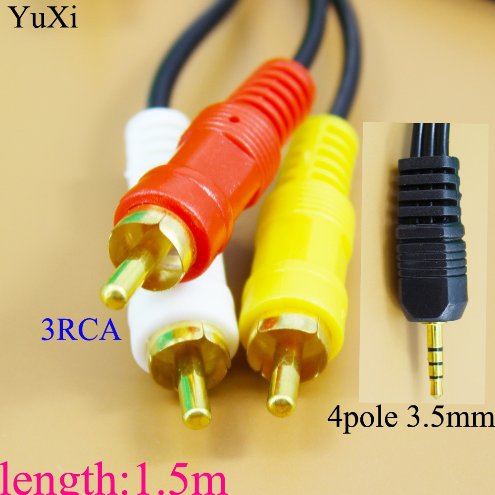 3 5mm retractable stereo audio male to male data cable 65cm length YuXi 3.5mm Jack Plug to 3 RCA Adapter Cable Male to Male DVD VCR Audio Video Stereo TV AV Cable Wire Cord