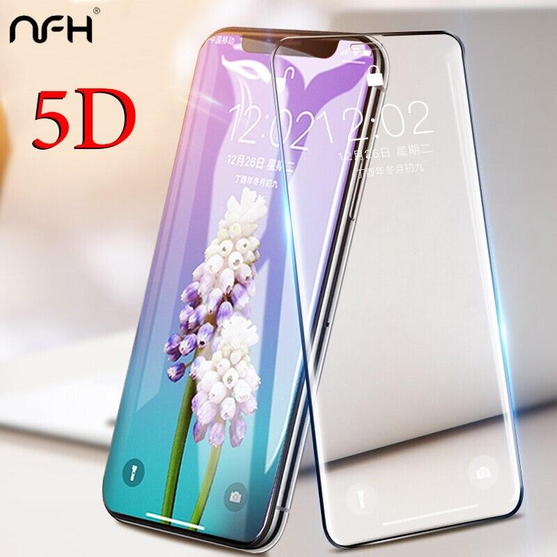 Verre NFH 5D pour iPhone XS Max X XR 5 D verre protecteur décran pour iPhone sur 7 8 6 6 S Plus XS Max XR 10 Film couverture complète bord 5D
