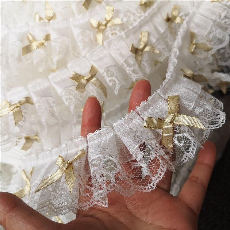 2 m/lote 5cm de largura feito à mão diy tridimensional branco neve fio laço arco decoração laço casa flor acessórios do laço sc452