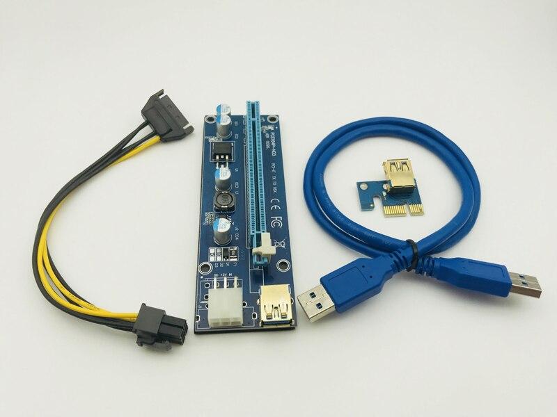 50 PCS الذهبي VER009S USB 3.0 كابل LED الناهض PCI-E PCI اكسبرس موليكس 6Pin إلى SATA 1X 16X الناهض بطاقة محول ل BTC مينر التعدين