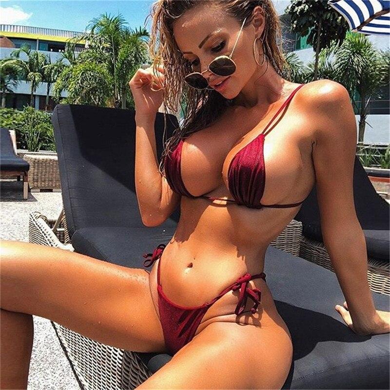 2020 Mini Bikini brasileño para Mujer G-string de cintura alta Tanga de vendaje Push up sin tirantes caliente Sexy traje de baño para Mujer