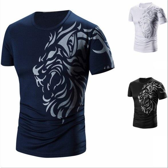 Roupa de verão, impressão de tatuagem, roupa de secagem rápida, camiseta casual masculina em torno do pescoço
