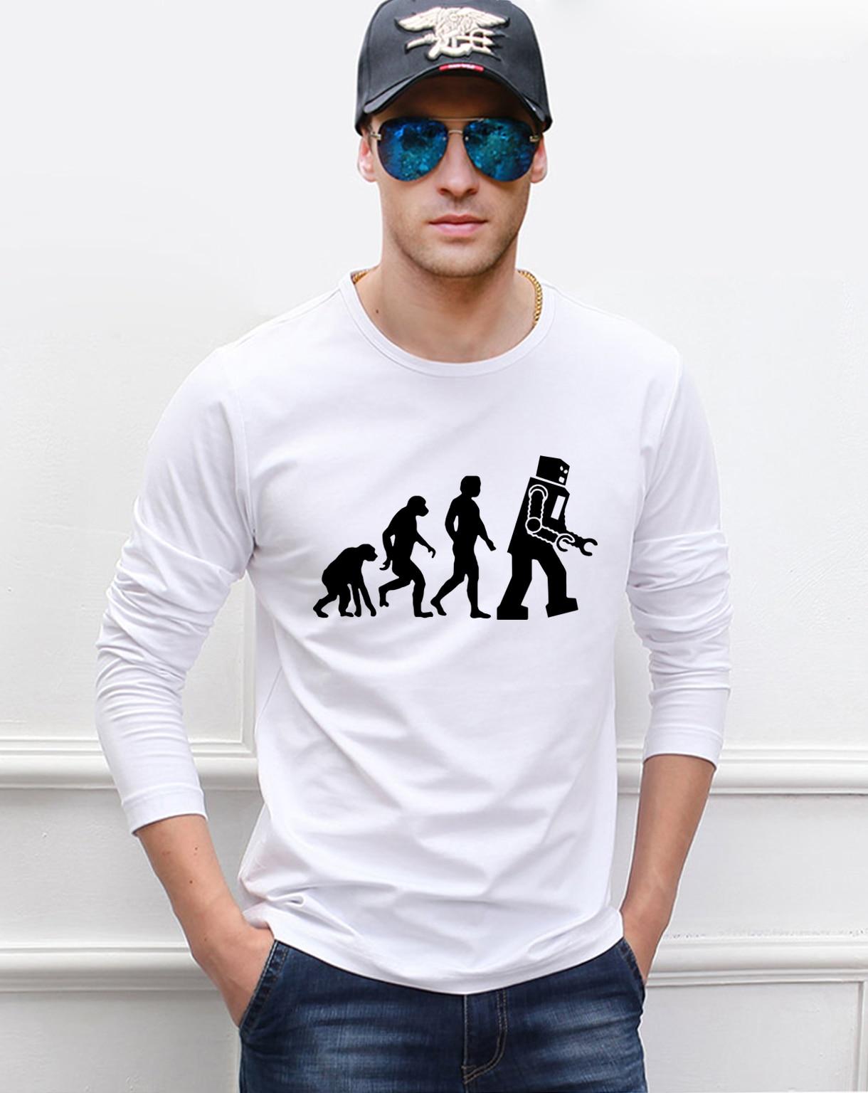 Camiseta de manga larga para hombre de la evolución robótica de The Big Bang Theory 2020 nueva Camiseta de algodón de alta calidad de hip hop fitness para hombre de otoño 100%