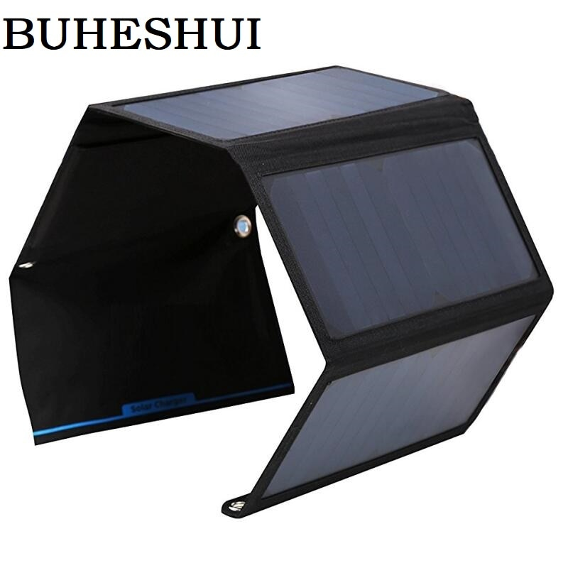 BUHESHUI 28 W/22 W Panel Solar plegable cargador portátil Dual USB de alta eficiencia Sunpower Solar Panel para teléfono móvil 5V dispositivo