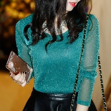 Sexy See Through Mesh Blouse Spring Autumn Fashion Women Long Sleeve Transparent Shining Elegant Female Tops Shirt Blusas
