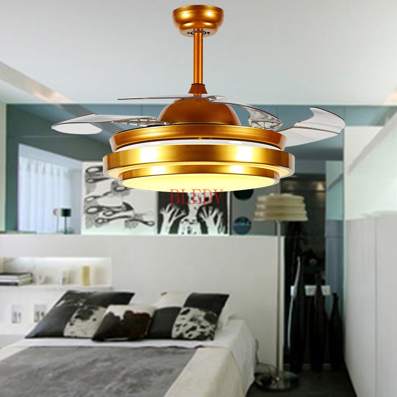 42 inch Fabriek groothandel Moderne Onzichtbare Ventilator verlichting Acryl Blad Led Plafond Fans 110 v/220 v Draadloze controle plafond ventilator licht