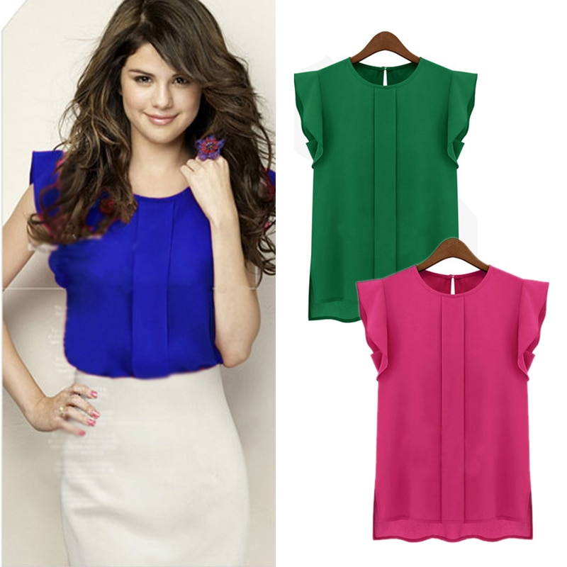 Women Candy Color Chiffon Round Collar Short Ruffle Sleeve Loose Shirt Blouse Tops