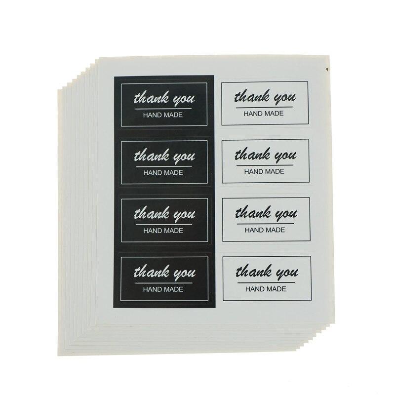 80 Uds./10 hojas de pegatinas de etiquetas de Gracias blanco negro papelería pegatinas diámetro para Diy hecho a mano para regalo torta sellado etiqueta colgante