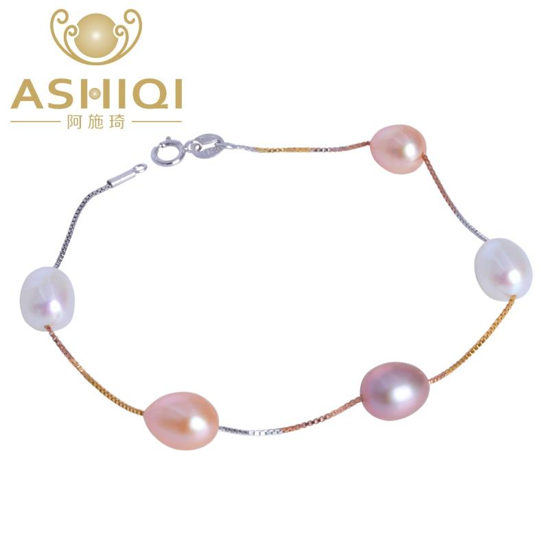 ASHIQI de cadena de plata fina 925 pulsera de enlace Natural de agua dulce pulsera con dije de perla para el regalo de las mujeres