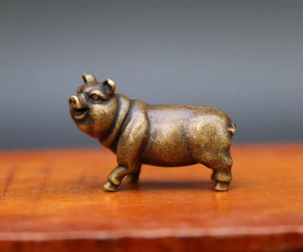 3,5 CM China bronce cobre Zodiaco Animal suerte amuleto bestia cerdo estatua