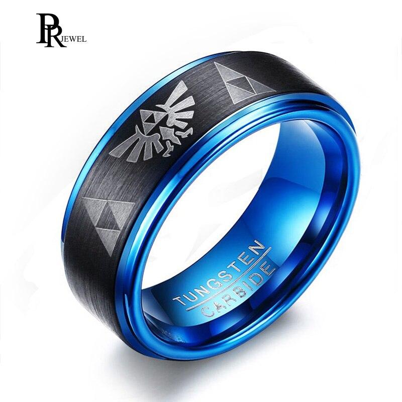 Legend of Zelda Rings for Men 8MM Tungsten Carbide Wedding Bands Ring Two-Tone Blue Black Step Edges Triforce Logo