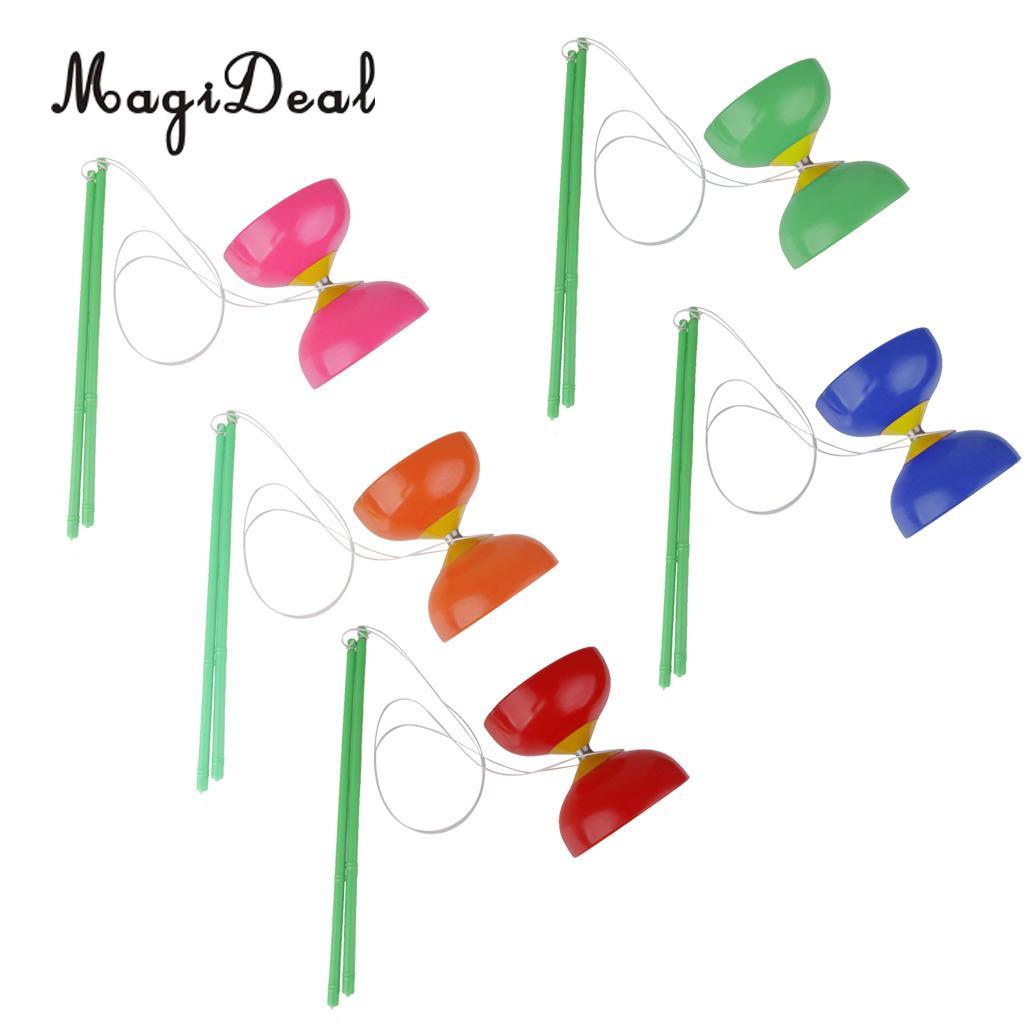 Magideal tradicional 1pc diabolo plactic com varas de mão e corda brinquedo de malabarismo para crianças adulto iniciantes 4 cores