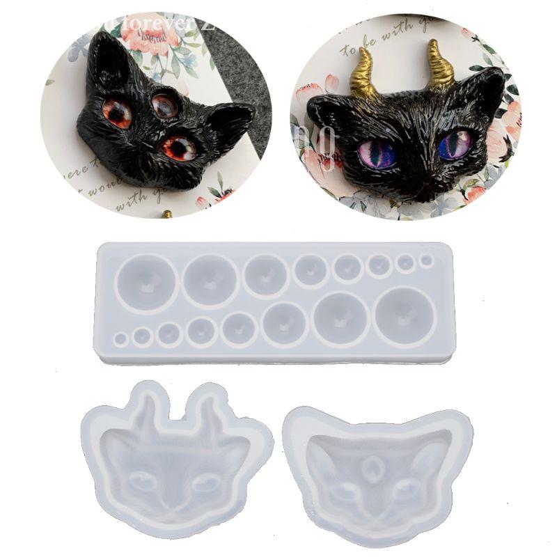 Desenhos animados mal olho de gato silicone resina moldes kit cola epoxy resina fundição jóias ferramentas