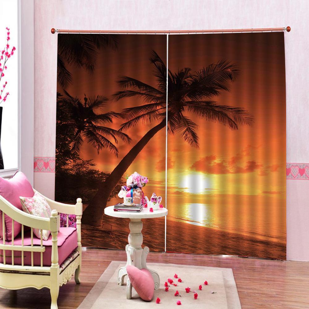 ATARDECER paisaje 3D cortina de lujo Blackout ventana cortina sala de estar amarillo Playa Coco árbol cortinas