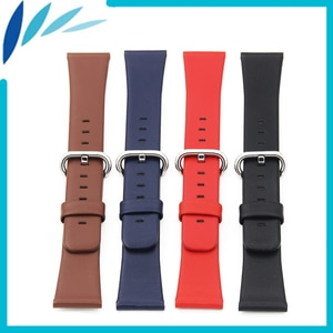 Genuine Leather Watch Band 24mm for Suunto TRAVERSE Stainless Steel Pin Clasp Strap Wrist Loop Belt Bracelet Black Blue Red