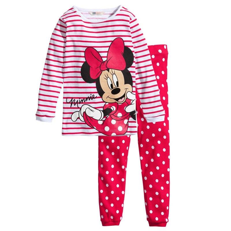 Conjunto de pijamas para niñas, conjunto de ropa para niños, pijamas para niñas, camiseta de manga larga con dibujo de Mickey Minnie, pantalón para dormir, traje