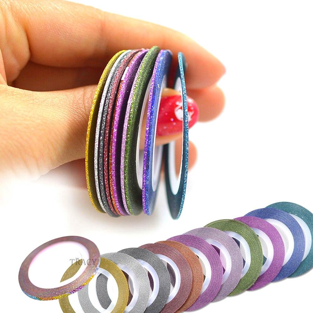Tiras adhesivas 3D para Nail Art, mezcla de 12 colores, 1mm, rollos de purpurina, adornos para uñas DIY, manicura TRNC392