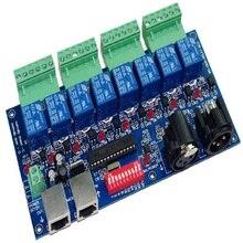 1 Pcs Dmx512 Decoder Xlr + RJ45 8CH Relais Schakelaar Dmx512 Rgb Led Controller Voor Led Strip Led Lamp Verlichting contrller Gratis Verzending
