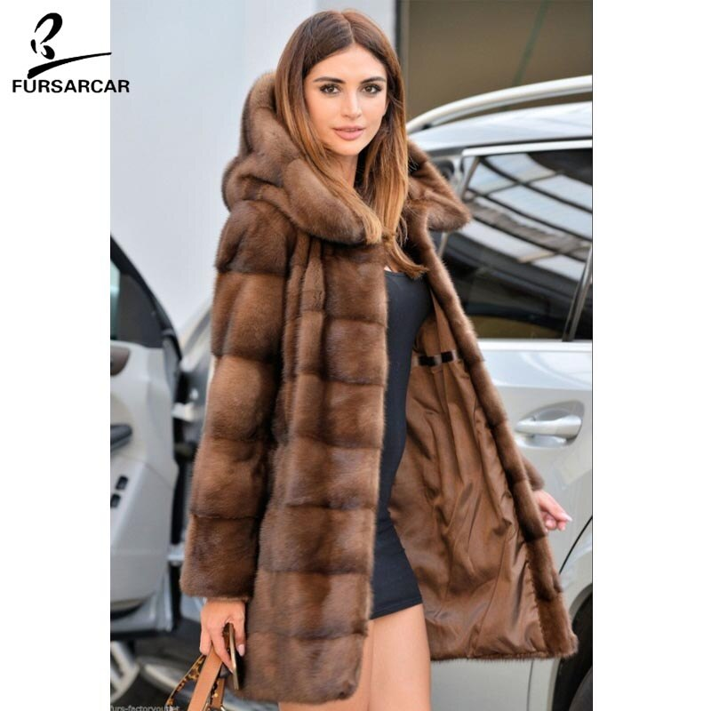 FURSARCAR Brown Full Pelt Luxury Real Mink Fur Women Coat With Big Hood Fashion Winter Warm Jacket Female Genuine Fur Outwear