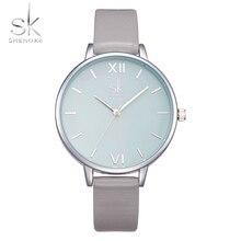 Shengke Watches Women Fashion Watch 2017 New Elegant Dress Leather Strap Ultra Slim Wrist Watch Montre Femme Reloj Mujer