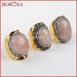 BOROSA 5PCS Druzy Quartz Gold Band Ring Crystal Rhinestone Pave Pink Quartz Stone Cuff Ring Drusy Jewelry Party Ring JAB678