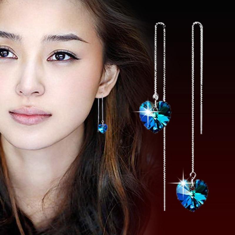 Atacado 925 sterling silver romântico azul brilhante de cristal do amor do coração das senhoras queda brincos Anti alergia transporte da gota