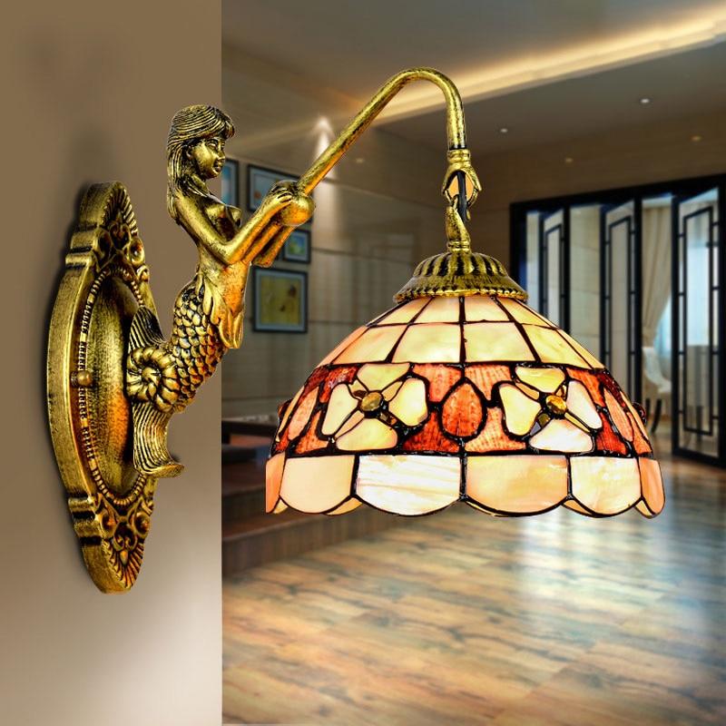 Mediterrane LED Tiffanylampe, Tiffany Mermaid Wandlamp AC 110/220 V E27 16 cm 20 cm Shell Muur lampen voor Thuis Gang Slaapkamer