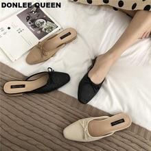 Zapatillas planas de marca para mujer, chanclas de verano con moño bajos puntera cuadrada para mujer, chanclas de punto transpirables, zapatos de plataforma para mujer