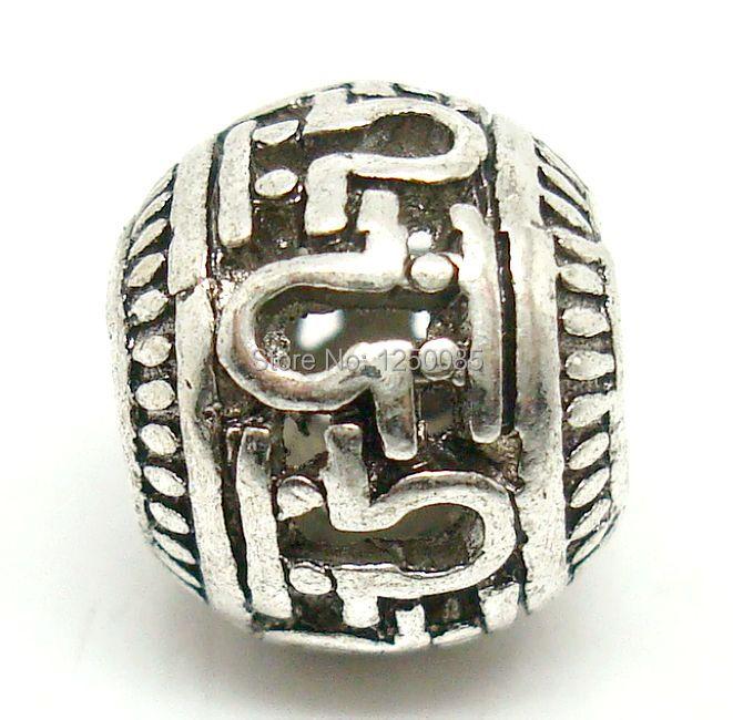 30pcs Carved Hollow Antique Silver Round European Spacer Big Hole Beads Fit European Bracelet MTB5