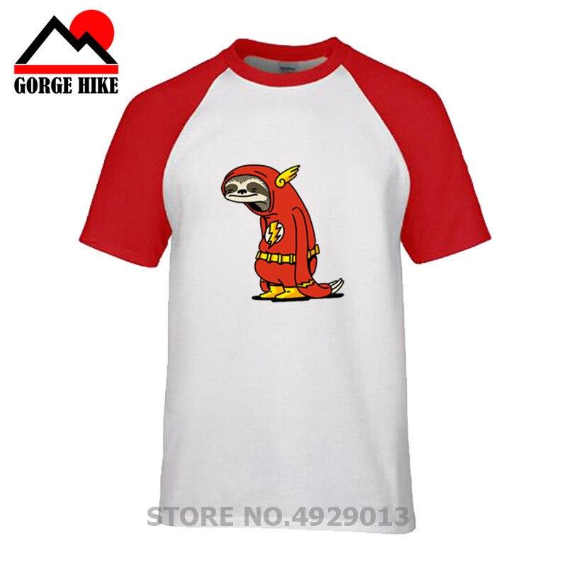 100% t camisa de algodão dos homens dos desenhos animados da preguiça vermelha do super-herói