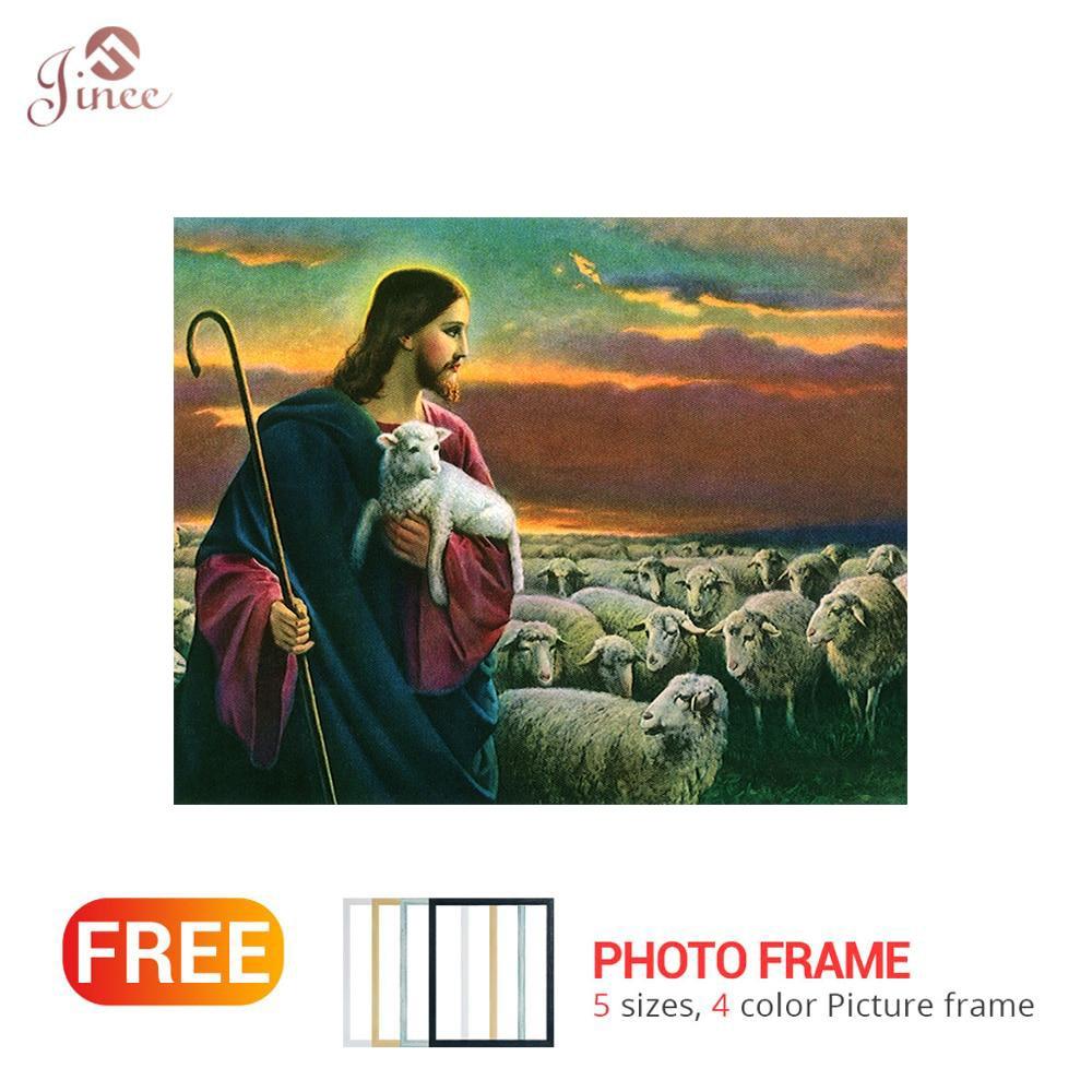 Cuadro cuadrado completo/redondo de diamantes, pintura de Dios Jesús oveja 5D DIY, bordado de diamantes de imitación, decoración del hogar con diamantes