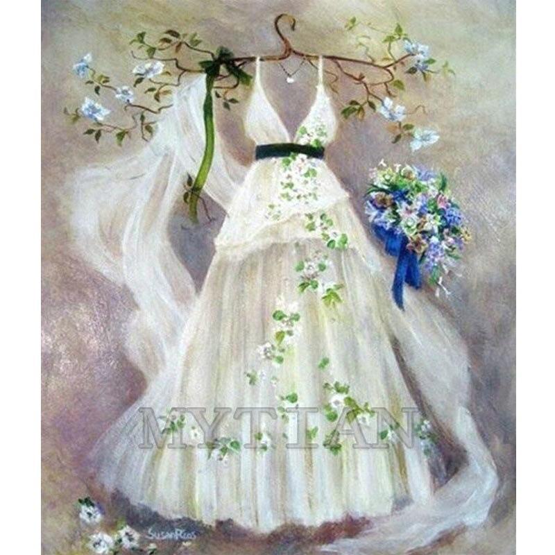 5D DIY Алмазная картина свадебное платье стена art3D пересечение стежка квадрат/Круглые бриллианты вышивка паста горный хрусталь ремесла Декор