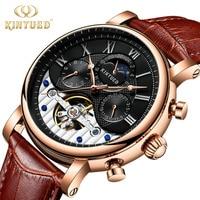 KINYUED Moon Phase Top Brand Men Mechanical Watches Automatic Tourbillon Skeleton Watch Men Calendar Rose gold Relogio Masculino