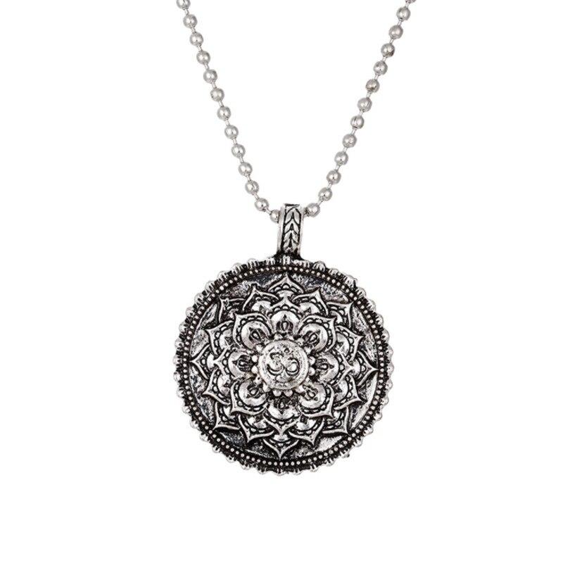 Leather Chain Lotus Necklace Yoga Chakra Mandala Pendant Necklace Ancient Buddha Buddhism Amulet Religious Jewelry Gifts