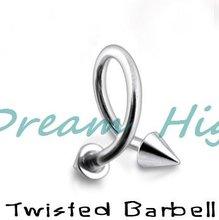 Piercing nez Barbell torsadé en gros 316L anneau à lèvres en acier chirurgical boucle doreille bijoux corporels 100% produit promotionnel garanti