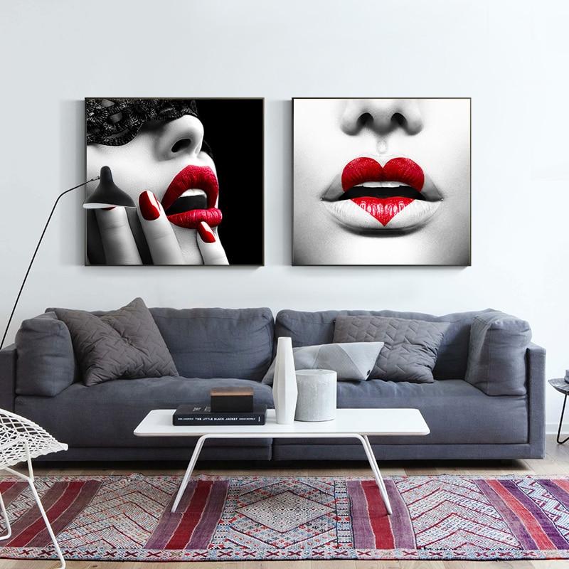 Pintura de lona nórdica negro blanco moderno labios rojos sexi corazón pósteres e impresiones decoración de pared imágenes artísticas para el hogar para la sala de estar
