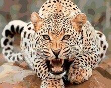 Tableau sans cadre sur le mur, peinture à lhuile acrylique   Avec des chiffres, dessin abstrait par des numéros, animal, peinture léopard, cadeau unique 40X50