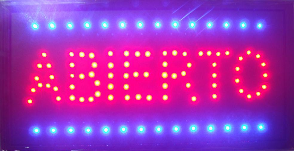 Letrero Abierto para correr, señal electrónica semibrillante, color rojo y azul, 10x19...