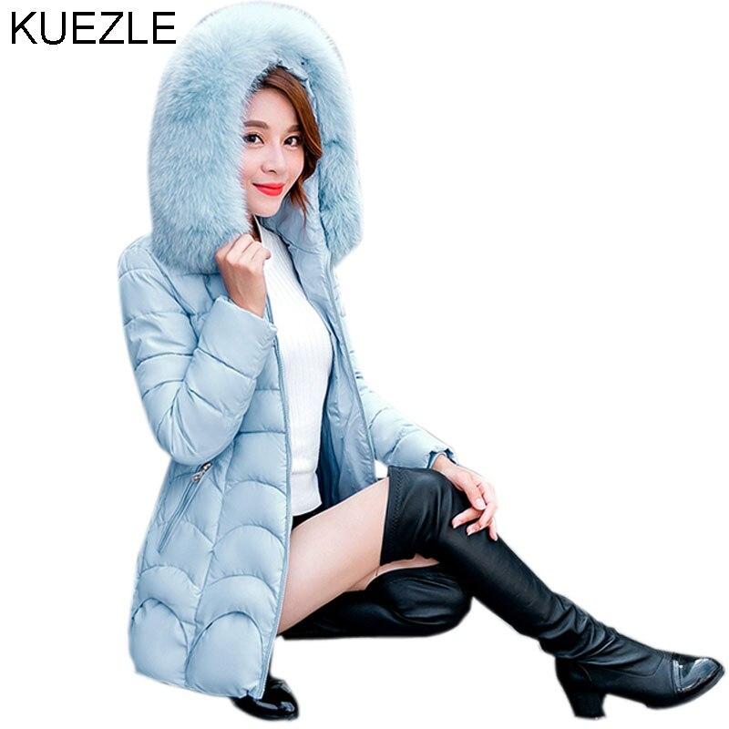 Wardded temporada mulheres algodão-acolchoado jaqueta de inverno feminino jaqueta de médio-longo grande gola de pele de algodão-acolchoado casacos blusão