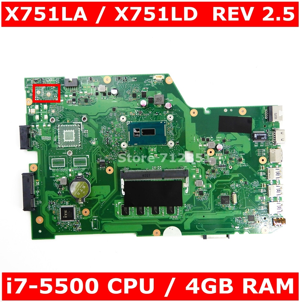 X751LAB MAIN_BD _ 4G/I7-5500U placa madre REV 2,5 para ASUS X751L X751LAB R752L R752LD R752LN X751LD X751LJ DDR3 placa base de computadora portátil