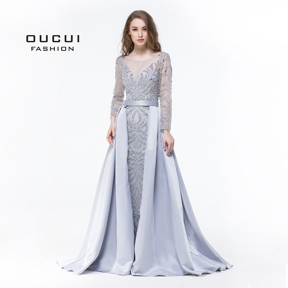 Mangas compridas muçulmano sereia vestido de noite 2019 luxo formal feito à mão cristal bola vestido formatura vestidos completo frisado ol103025