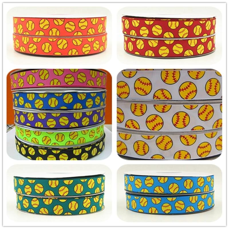 Q&N ribbon wholesale 7/8inch 22mm yellow softball silk screen print grosgrain ribbon for hairbows 50yds/roll free shipping