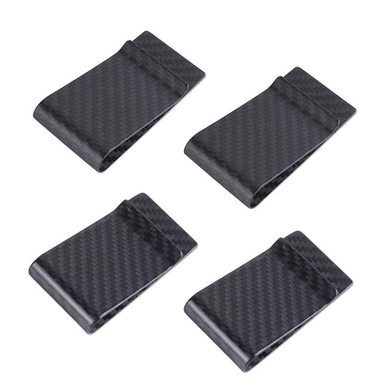 Billetera de fibra de carbono con Clip para dinero, tarjetero para tarjetas de crédito, cartera fina de negocios, color negro mate pulido