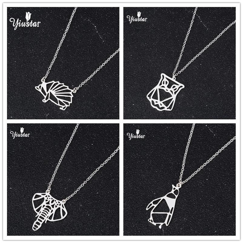 Collar geométrico de erizo de Origami yiustar brincos, collar de búho animal para hombres, collar de elefante de Origami, cboucle doreille