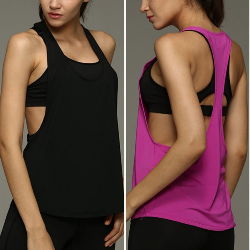 Las mujeres Top Yoga secado rápido camisas Loose Gym Fitness deporte chaleco sin mangas singlelet de formación TopsN