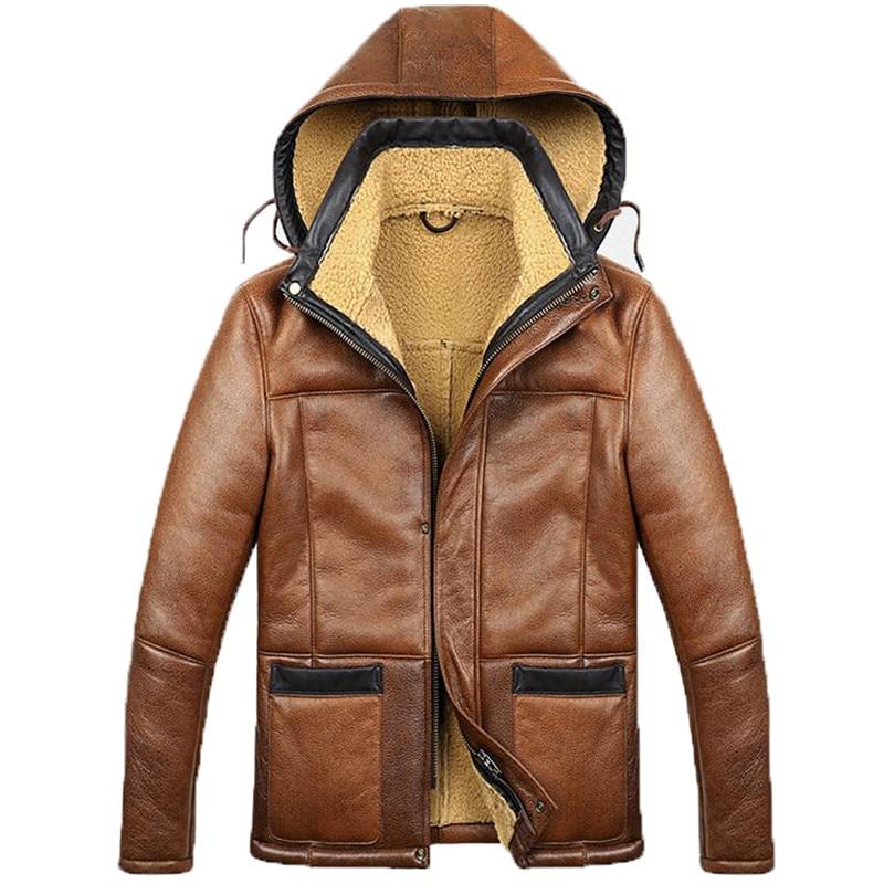Chaqueta de bombardero de piel de oveja con capucha para hombre, de Color marrón, con capucha, modelo B3 B6